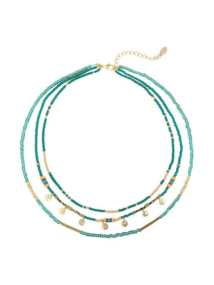 J.Y.M. Necklace Layers of beads Bleu