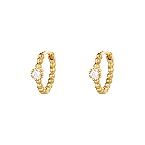 J.Y.M. Earrings Pearls In A Row Gold White Stone