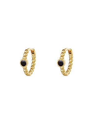 J.Y.M. Earrings Pearls In A Row Gold Black Stone