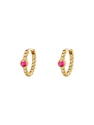 J.Y.M. Earrings Pearls In A Row Gold Pink Stone