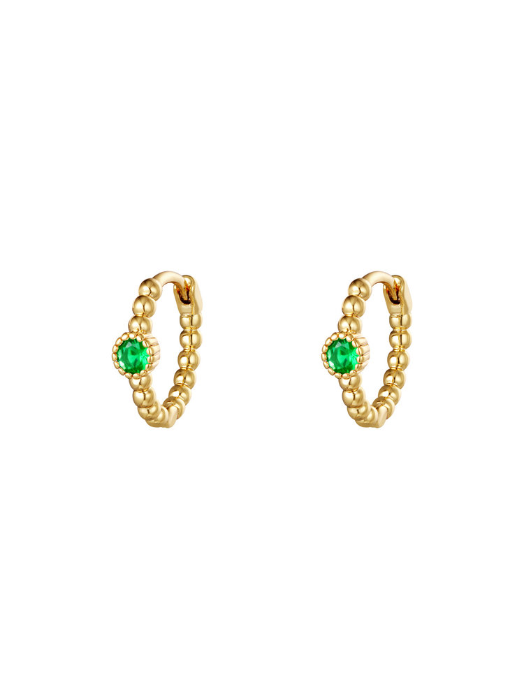 J.Y.M. Earrings Pearls In A Row Gold Green Stone