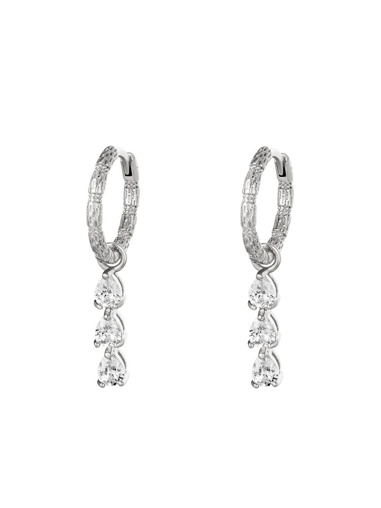 J.Y.M. Earrings Diamonds In A Row Silver