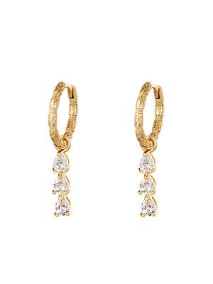 J.Y.M. Earrings Diamonds In A Row Gold