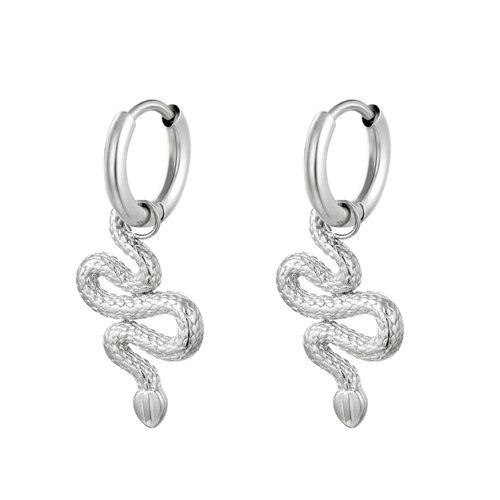 J.Y.M. Earrings Shiney Serpent Silver