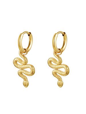 J.Y.M. Earrings Shiney Serpent Gold