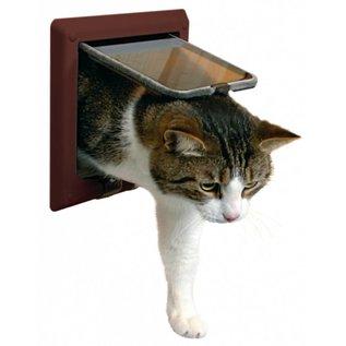 Trixie 4 standen kattenluik met tunnel bruin