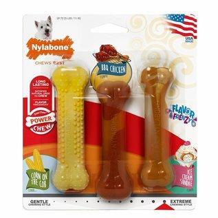 Nylabone Power Chew 3 Smaken Kip,Vanille en Mais maat S