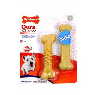 Nylabone Power Chew Twin Pack,  Kip en Pindakaas kluif maat S