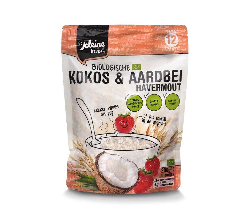Biologische Kokos und Erdbeer-Haferflocken
