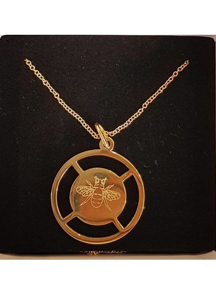 statement coin necklace bee goud