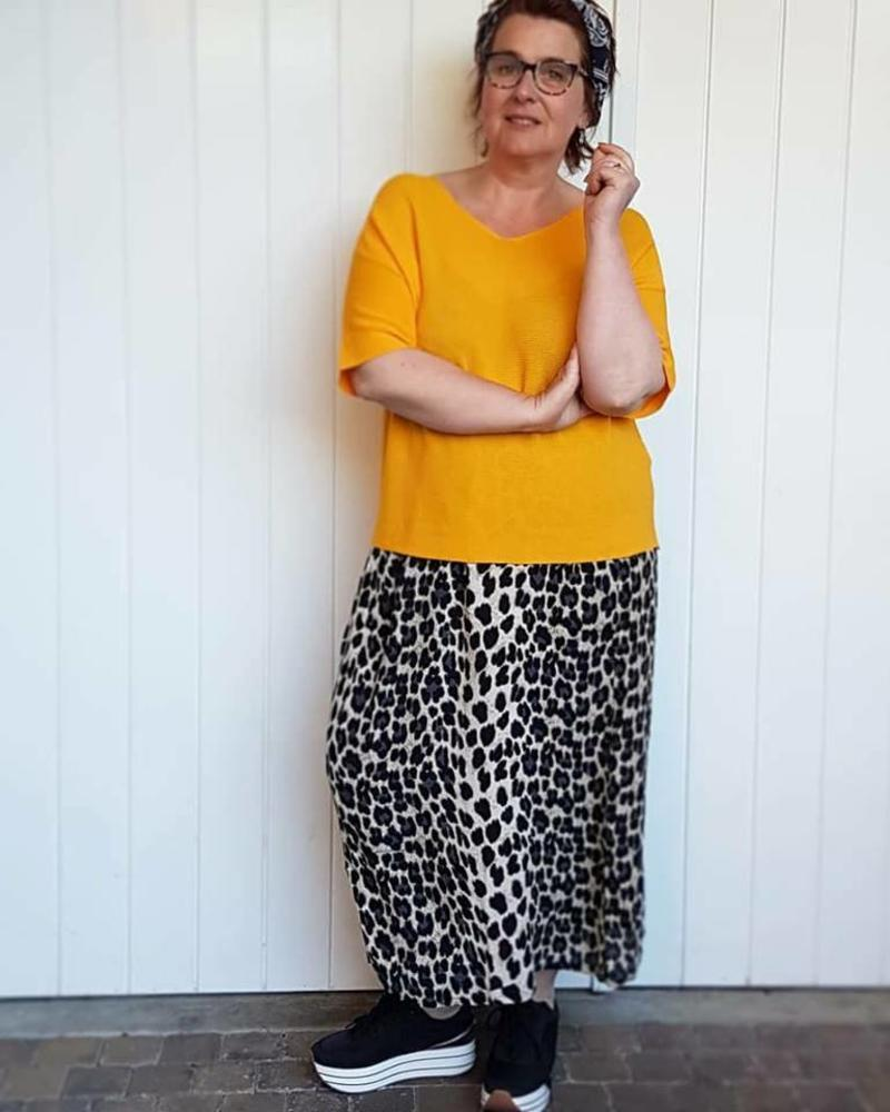 Leopard Skirt / yellow knit