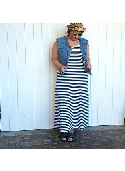 striped 7/8 cotton dress