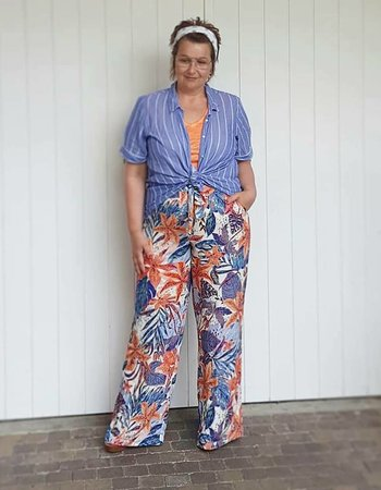 wide print pants naranja