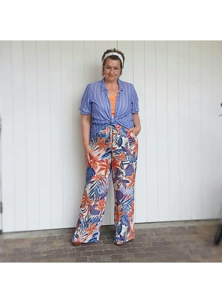 wide print pants naranja