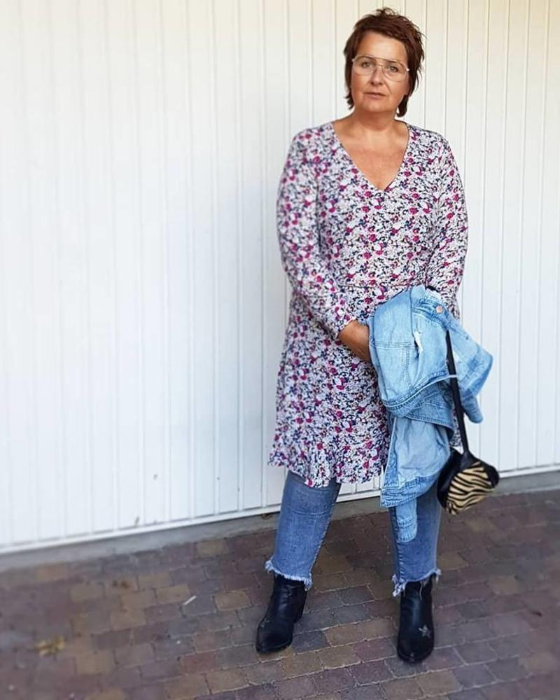 feminine tough; dress over jeans