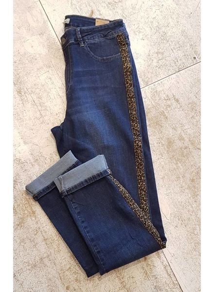 October jeans sidestripe leopard