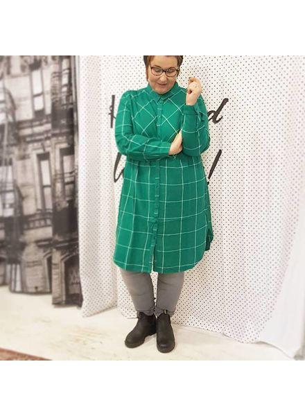 checkered dress/long blouse green