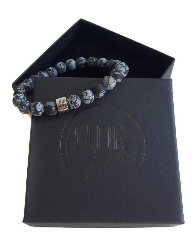 Klein Geluk armband Sneeuwvlok obsidiaan mat 8 mm