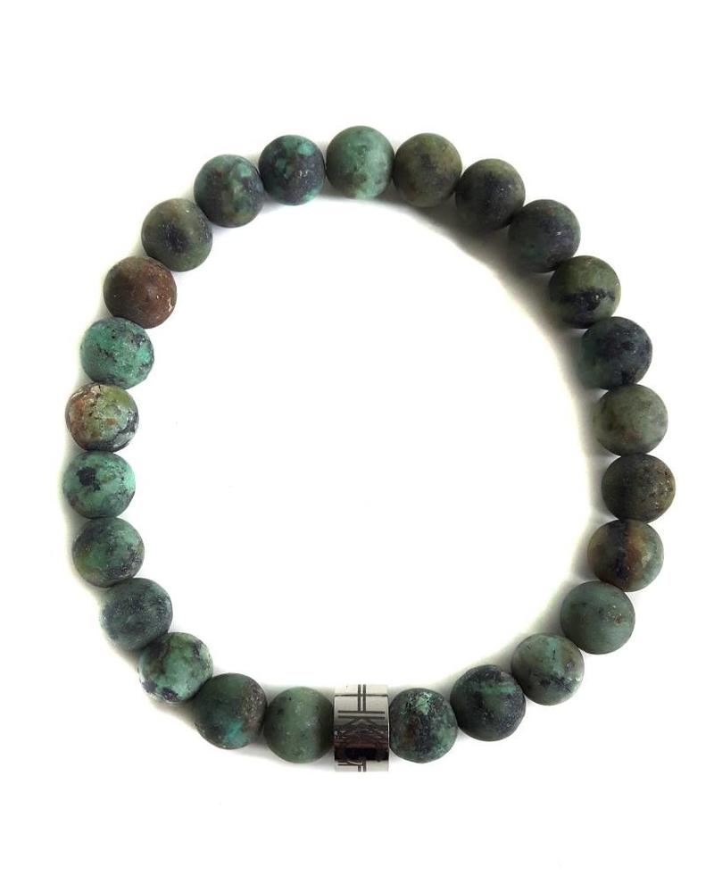 Klein Geluk armband groen Turkoois mat 8 mm