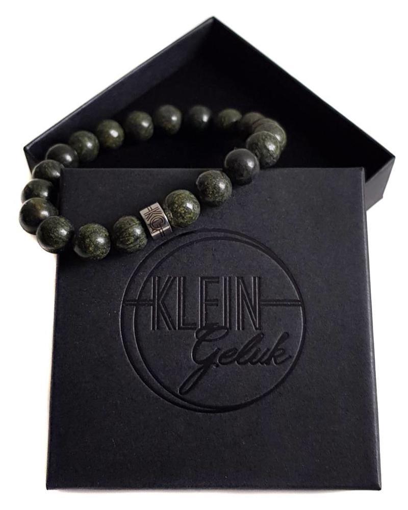 Klein Geluk armband donker groen Serpentijn 10 mm