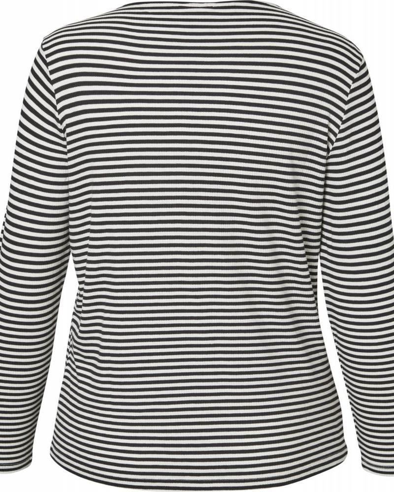 Junarose shirt lm streep zwart