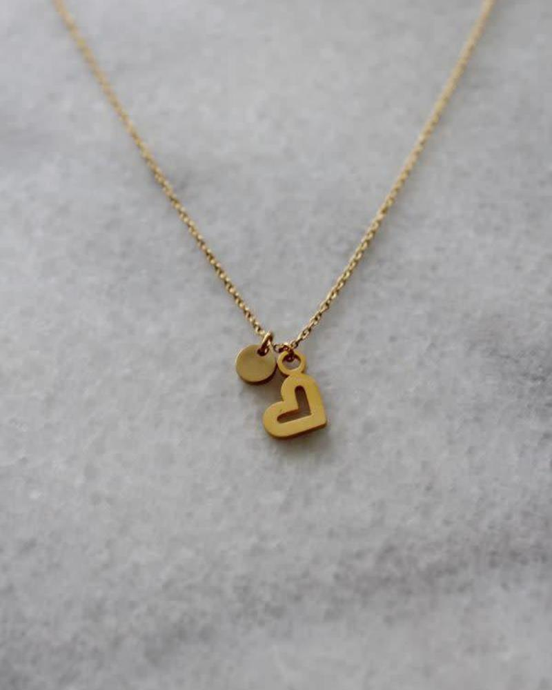 ketting 40/45 cm heart gold