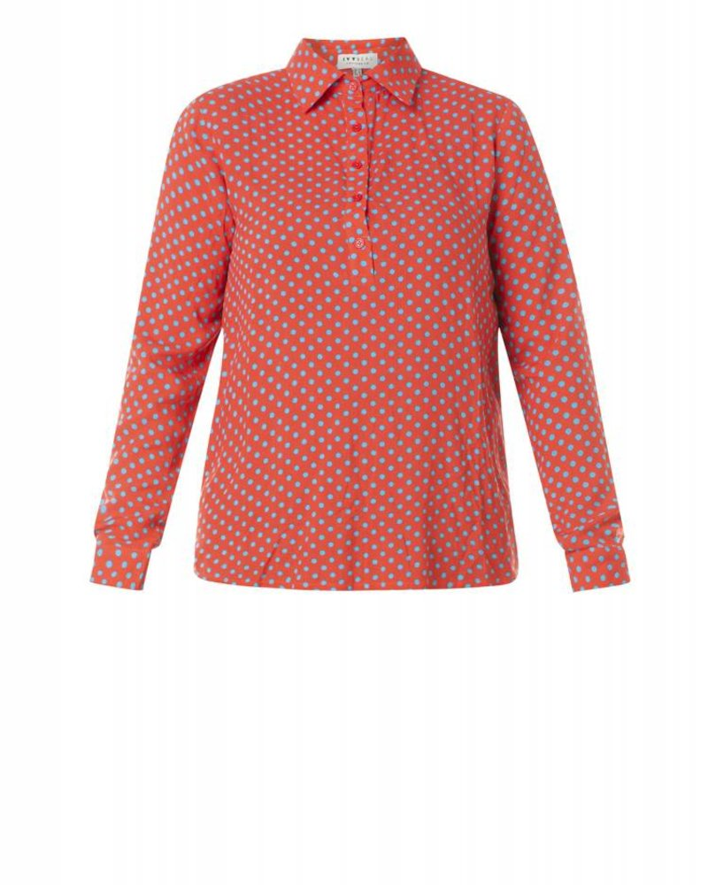 blouse oranje/rood dot