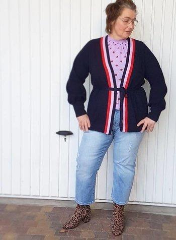 lila top dot en kimono cardigan