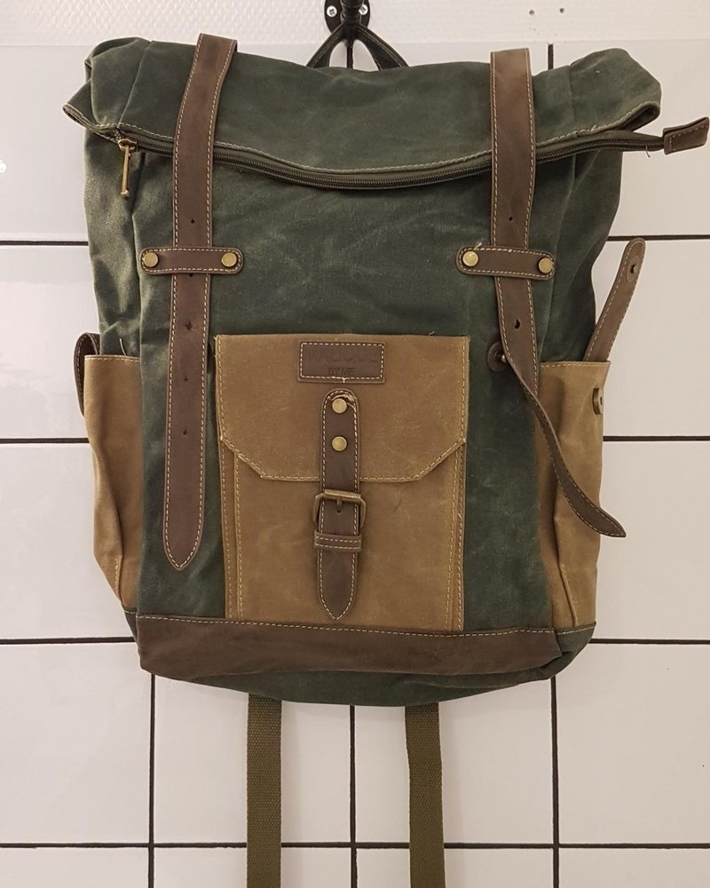 canvas rugzak groot olive/petrol