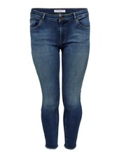Only Carmakoma Willy ankle jeans frayed med blue