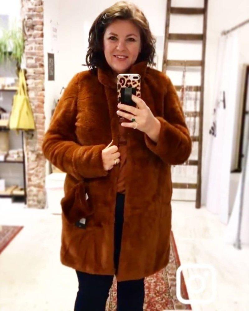 fake fur jacket rust