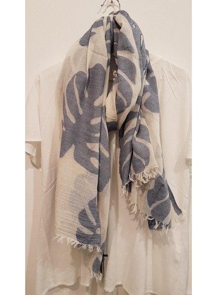 sjaal monstera blauw