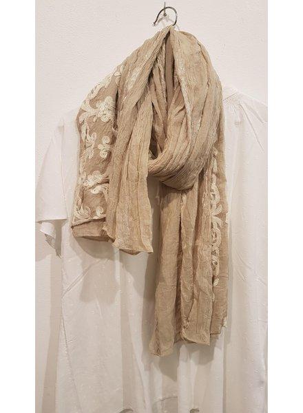 sjaal zand/borduur