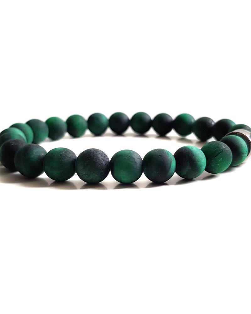 Klein Geluk armband tijgeroog groen mat 8mm