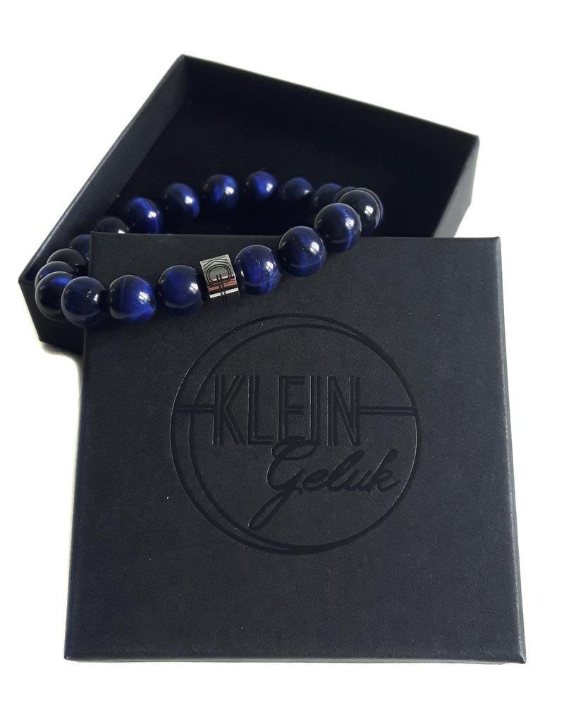 Klein Geluk unisex armband tijgeroog blauw