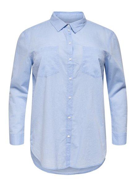 Only Carmakoma blouse Halla  blue denim solid