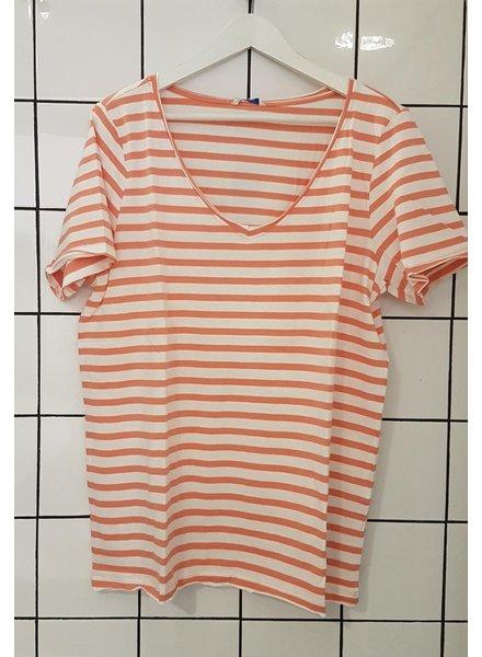 Only Carmakoma shirt Life stripe orange