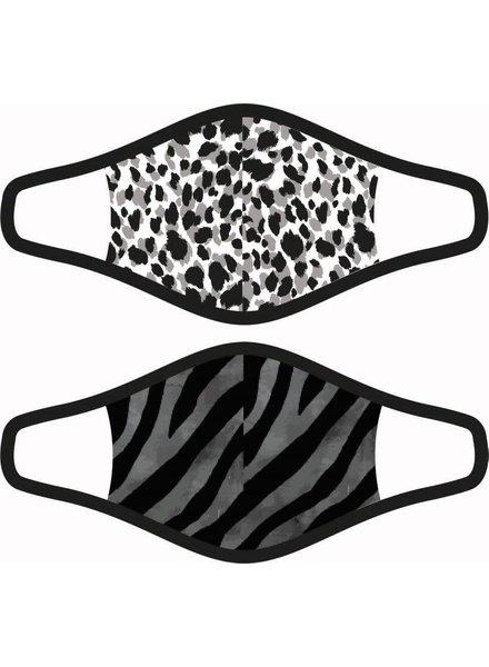 DAMES 2-Pack Mondkapjes Leopard/Zebra maat S