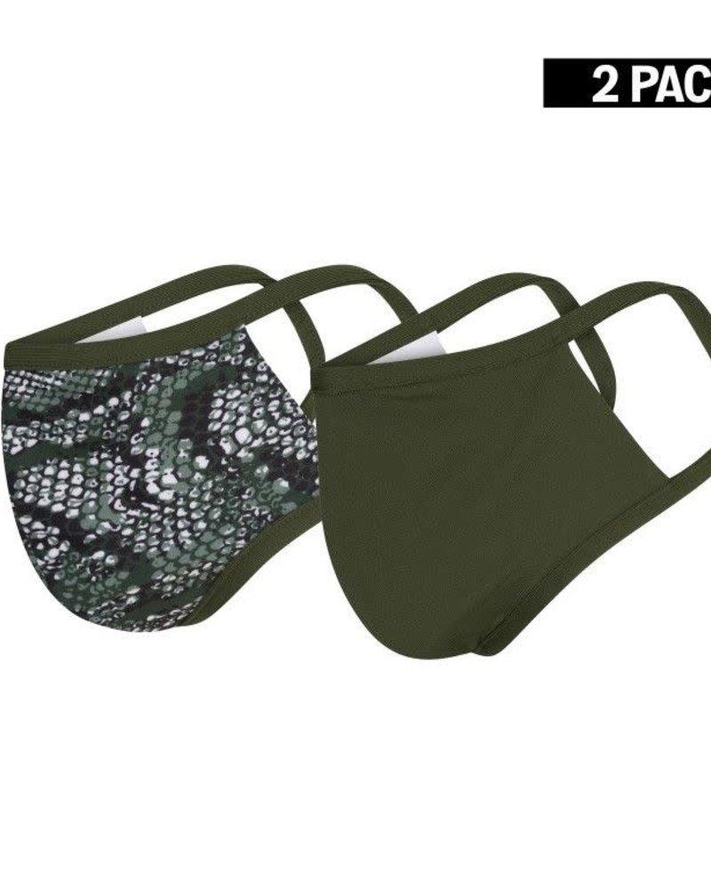 DAMES 2-Pack Mondkapjes Snake/Donkergroen Maat S