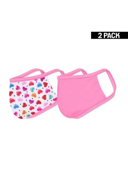 KIDS 2-Pack Mondkapjes Hearts/Felroze 4-9 jaar
