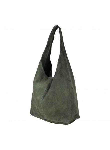 baggy bag suede donkergroen
