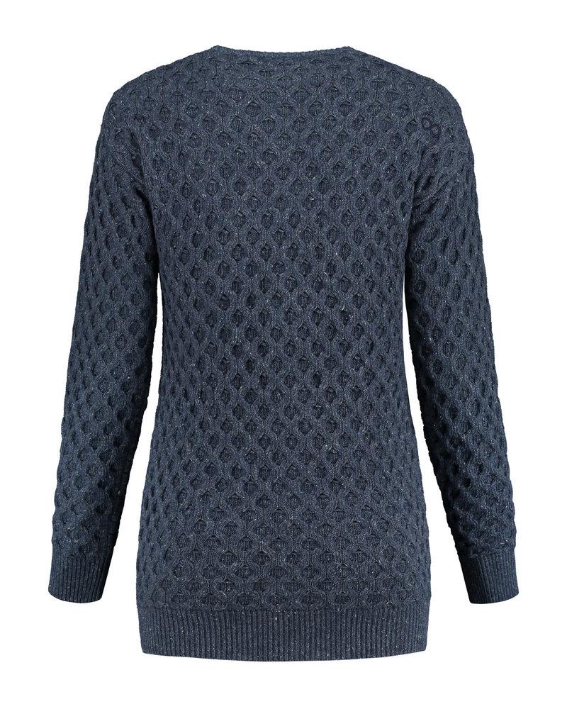Blue Loop Aran Island Zip Sweater