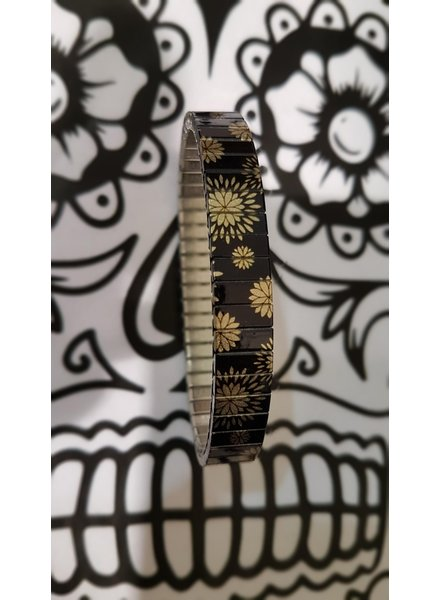Banded banded slim black flower gold