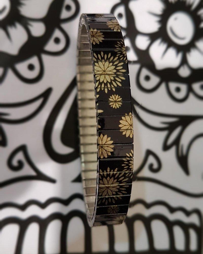 Banded banded slim black flower gold