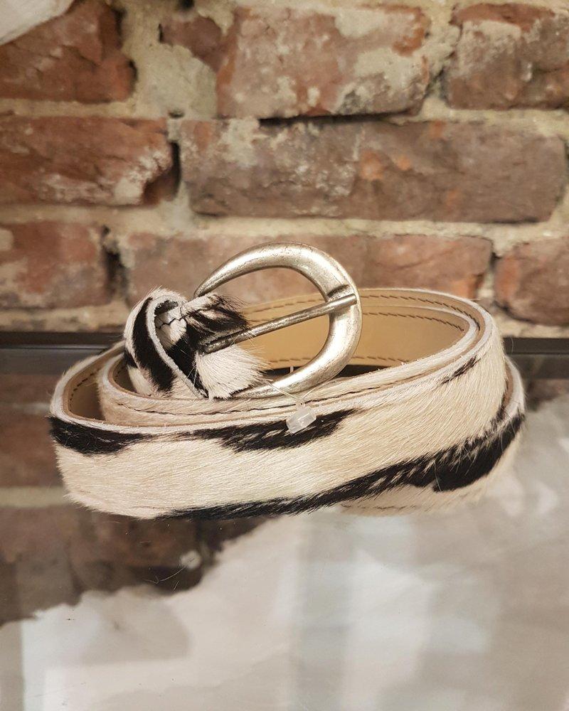 zebra/vacht ceintuur mat zilver