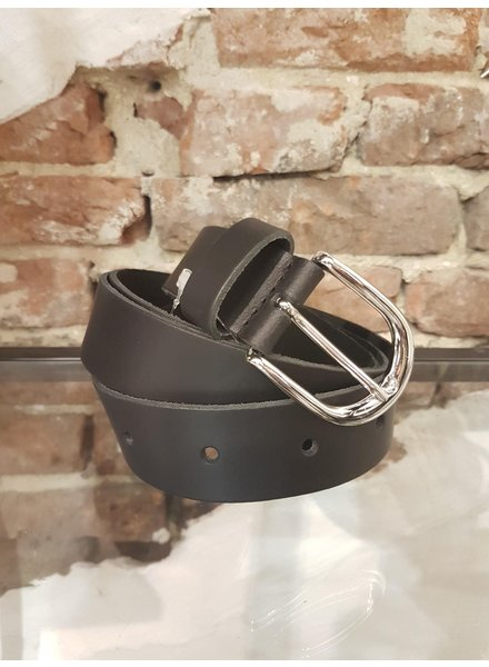 black leather ceintuur zilver