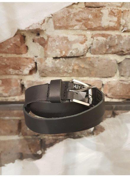 black leather ceintuur 2,5 cm ziver