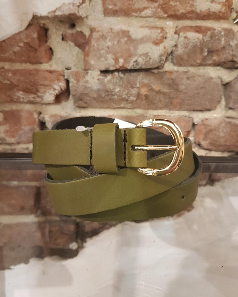 green leather ceintuur 2,5 gold