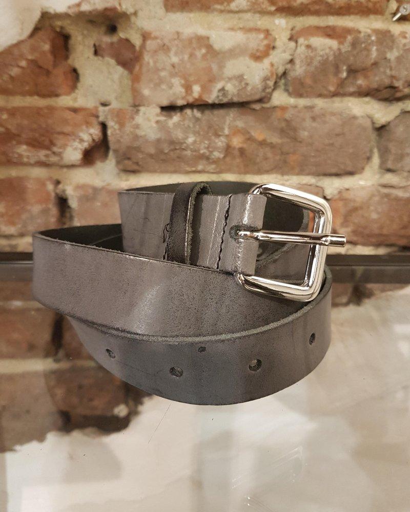 grey leather ceintuur 2,8 cm zilver