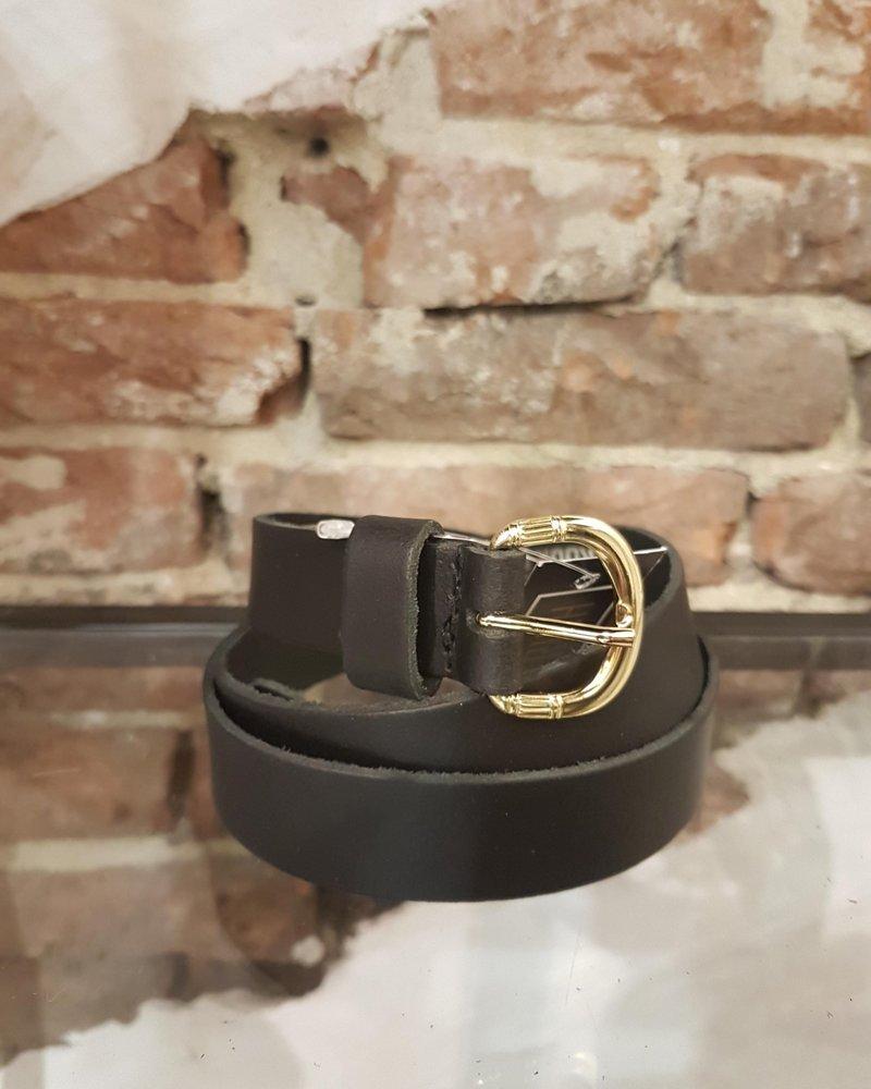 black leather 2,5 cm gold
